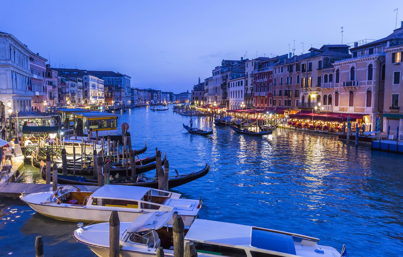 Photo wallpaper lights, home, boats, the evening, lights, Italy, Venice, boats, water