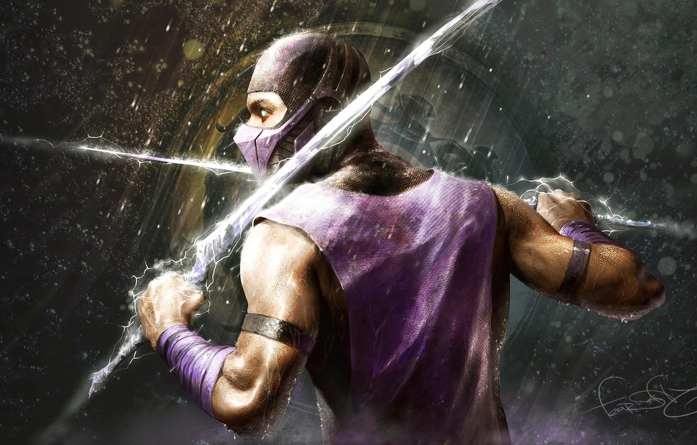 Photo wallpaper weapons, rain, zipper, sword, warrior, rain, Mortal Kombat, fan art