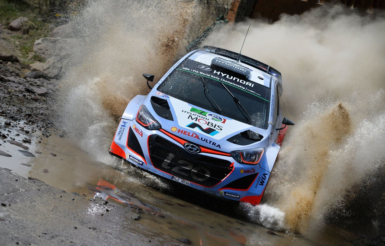 Photo wallpaper Water, Reflection, Squirt, Hyundai, WRC, Rally, i20, Ford