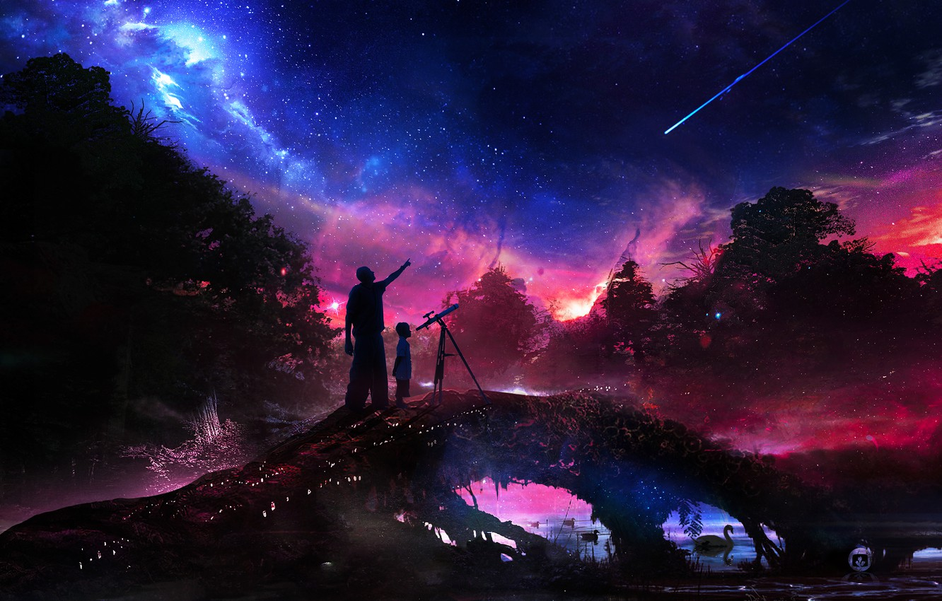 Photo wallpaper forest, the sky, water, space, trees, night, river, star, boy, male, telescope