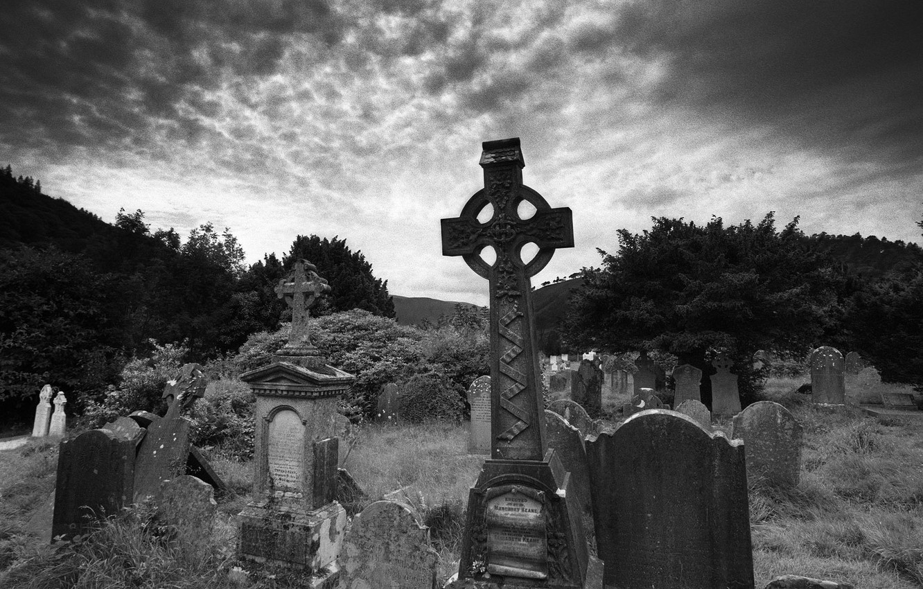Photo wallpaper Gothic, the darkness, graves, cemetery