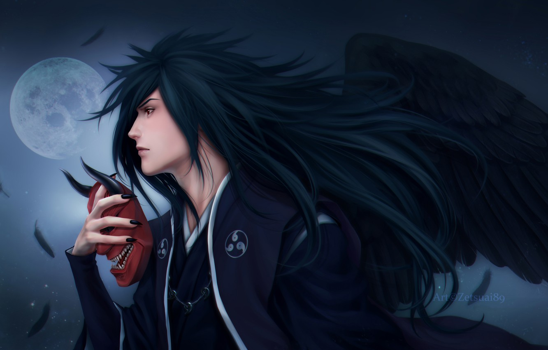 Photo wallpaper night, the moon, wings, feathers, mask, Naruto, Naruto, art, Zetsuai89, uchiha powers, the man