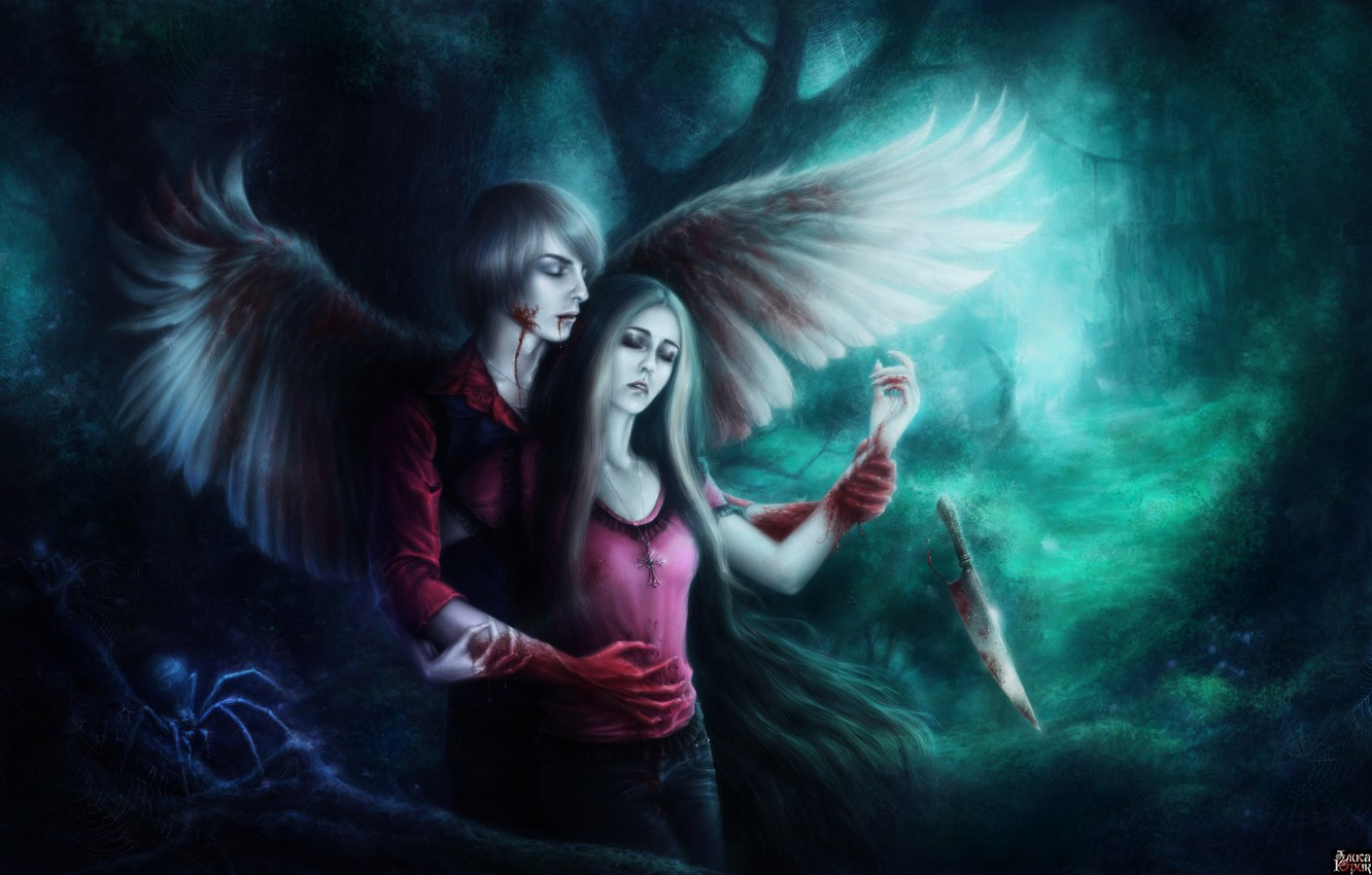 Photo wallpaper forest, girl, blood, wings, spider, art, knife, guy, wounds