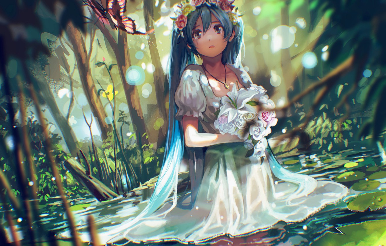 Photo wallpaper water, girl, flowers, nature, butterfly, bouquet, anime, tears, art, vocaloid, hatsune miku, wreath, tsukun112