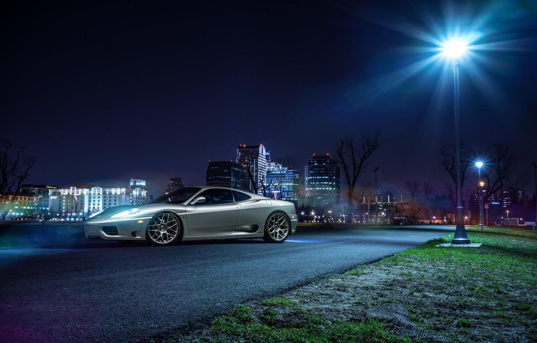 Photo wallpaper Ferrari, Car, 360, Front, Modena, Wheels, Before, Garde, Ligth, Nigth