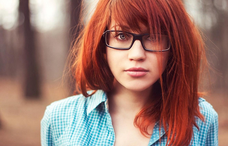 Photo wallpaper Girl, glasses, red, shirt