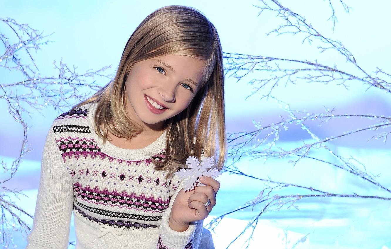 Photo wallpaper winter, snow, children, smile, mood, blonde, girl, snowflake