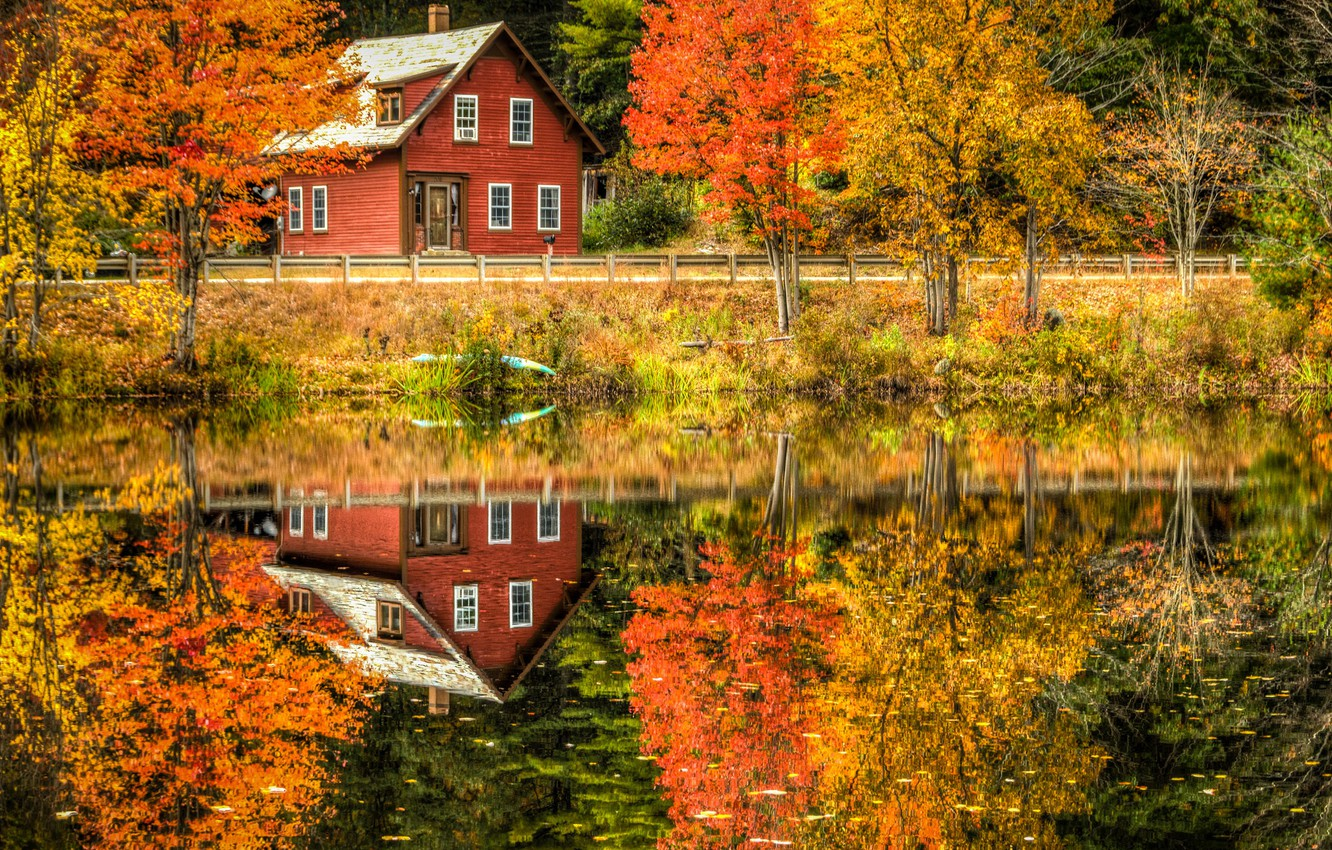 Photo wallpaper road, autumn, forest, leaves, trees, landscape, reflection, river, Villa, home, Nature, house, forest, Nature, architecture, …