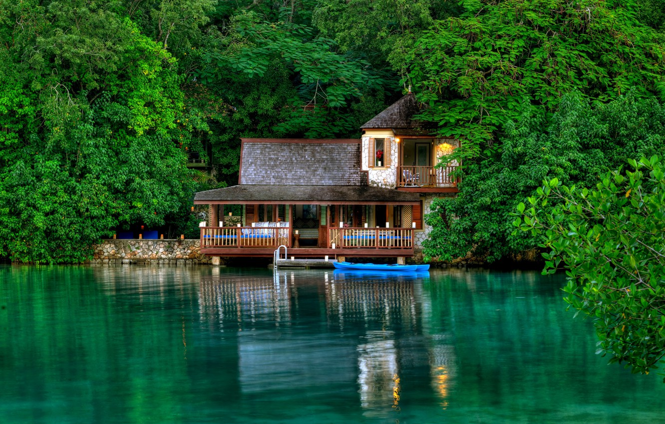 Photo wallpaper greens, leaves, water, trees, house, reflection, stay, island, Jamaica, Jamaica