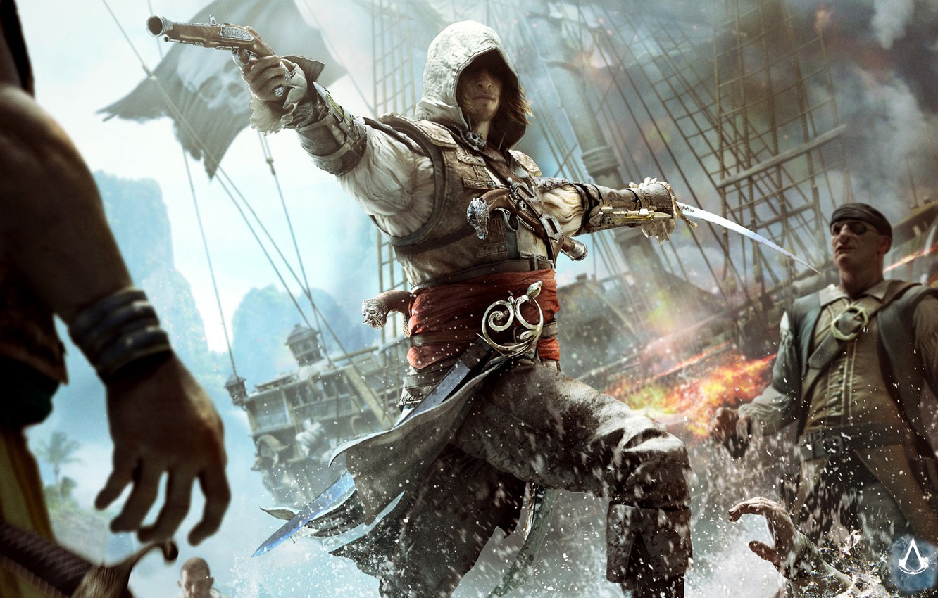 Wallpaper Gun Ship Sword Flag Pirate Assassin Edward Kenway