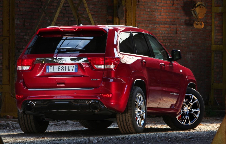 Photo wallpaper red, Jeep, SRT8, rear view, Jeep, СРТ8, Grand Cherokee, Grand Cheroke