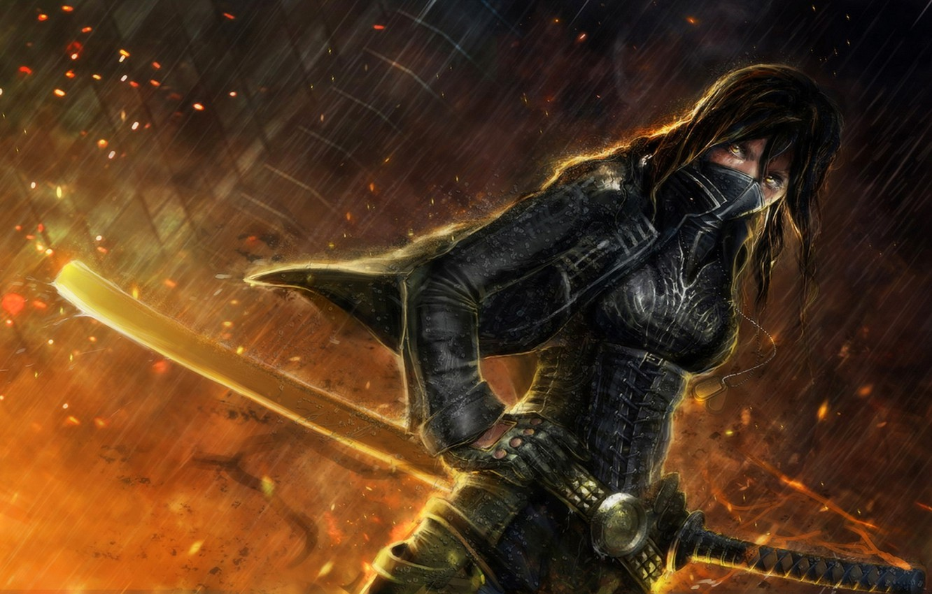 Photo wallpaper look, girl, rain, fire, katana, sparks, Art