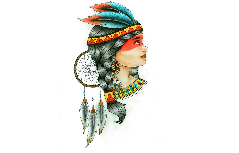 Photo wallpaper girl, feathers, Indian, indian, Dreamcatcher, Dreamcatcher