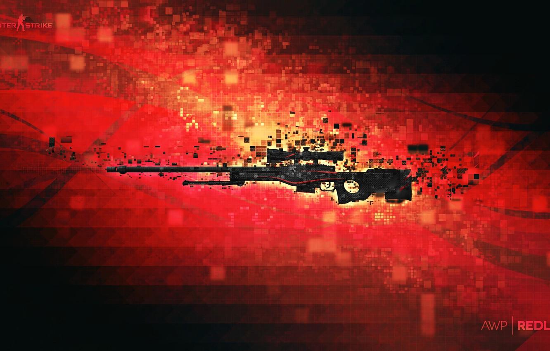 Photo wallpaper pixels, counter strike, rifle, global offensive, csgo, redline, awp, cs go