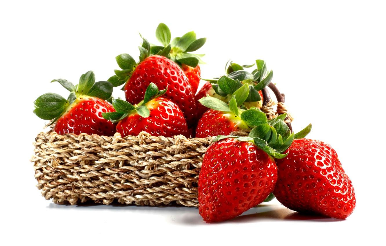 Photo wallpaper berries, strawberry, basket, strawberry, fresh berries