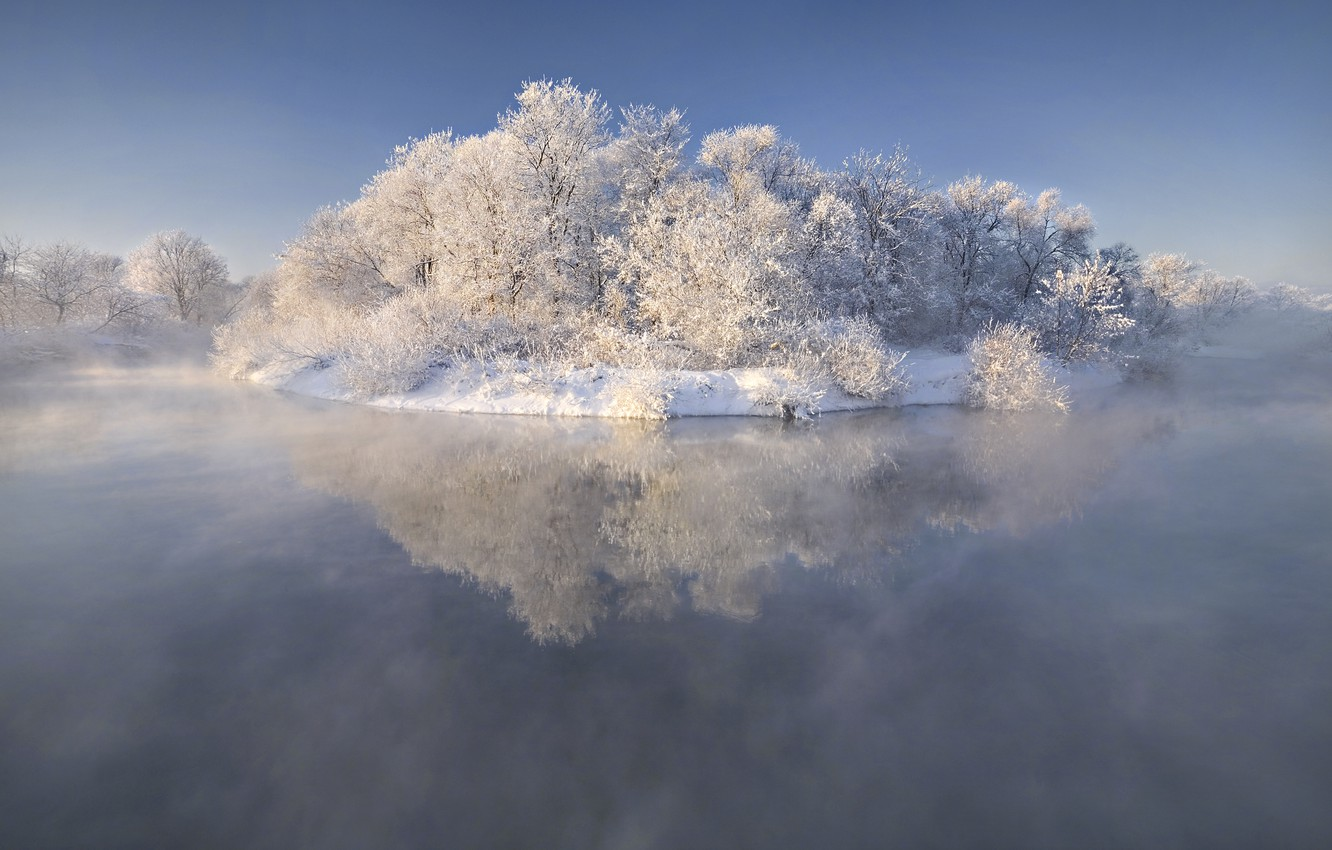 Photo wallpaper ice, frost, snow, trees, nature, fog, lake, island, Winter, beautiful, ice, Winter, trees, nature, fairy, …
