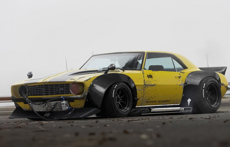 Photo wallpaper Chevrolet, 1969, Camaro, Yellow, Tuning, Future, by Khyzyl Saleem