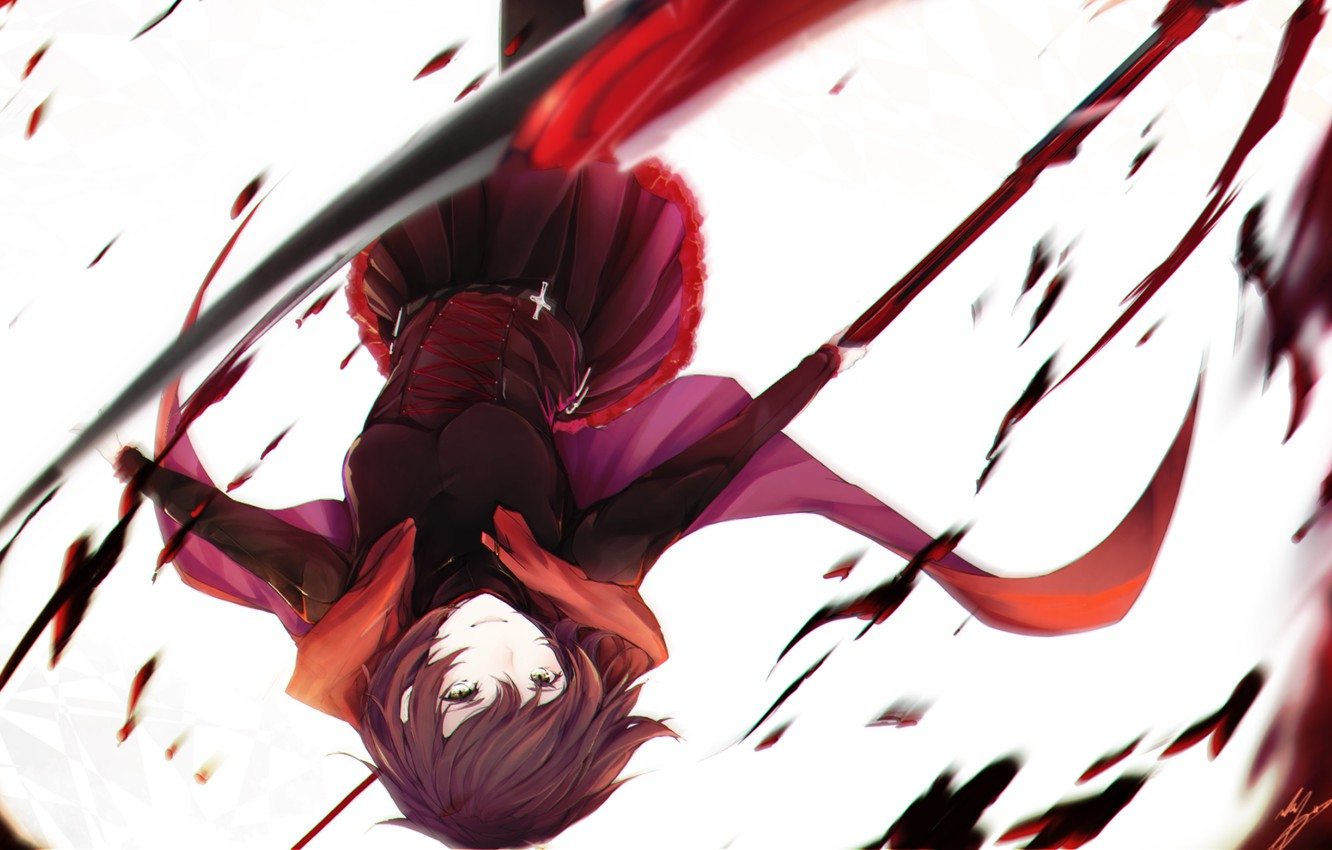 Photo wallpaper girl, cross, braid, RWBY, Ruby Rose, Remnant