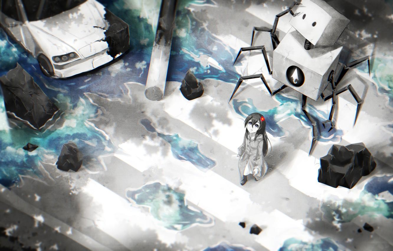 Photo wallpaper machine, flower, water, girl, robot, anime, art, the transition, samael