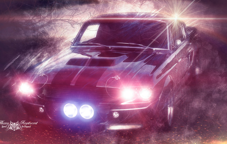 Photo wallpaper night, fog, fire, lights, Mustang, Ford