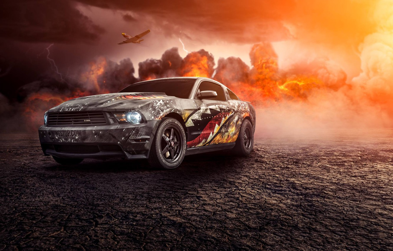 Photo wallpaper Mustang, Ford, Muscle, Car, Fire, Front, Turbo, Perfomance, Comp