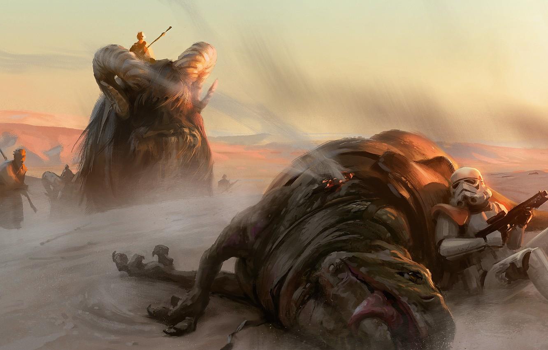Wallpaper Animals Desert Star Wars Art An Imperial Tatooine Sand People Images For Desktop Section Fantastika Download