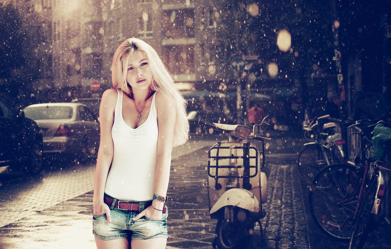 Photo wallpaper rain, Girl, moped