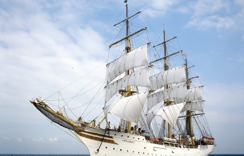 Photo wallpaper sea, ship, sails, Sorlandet, Frigate