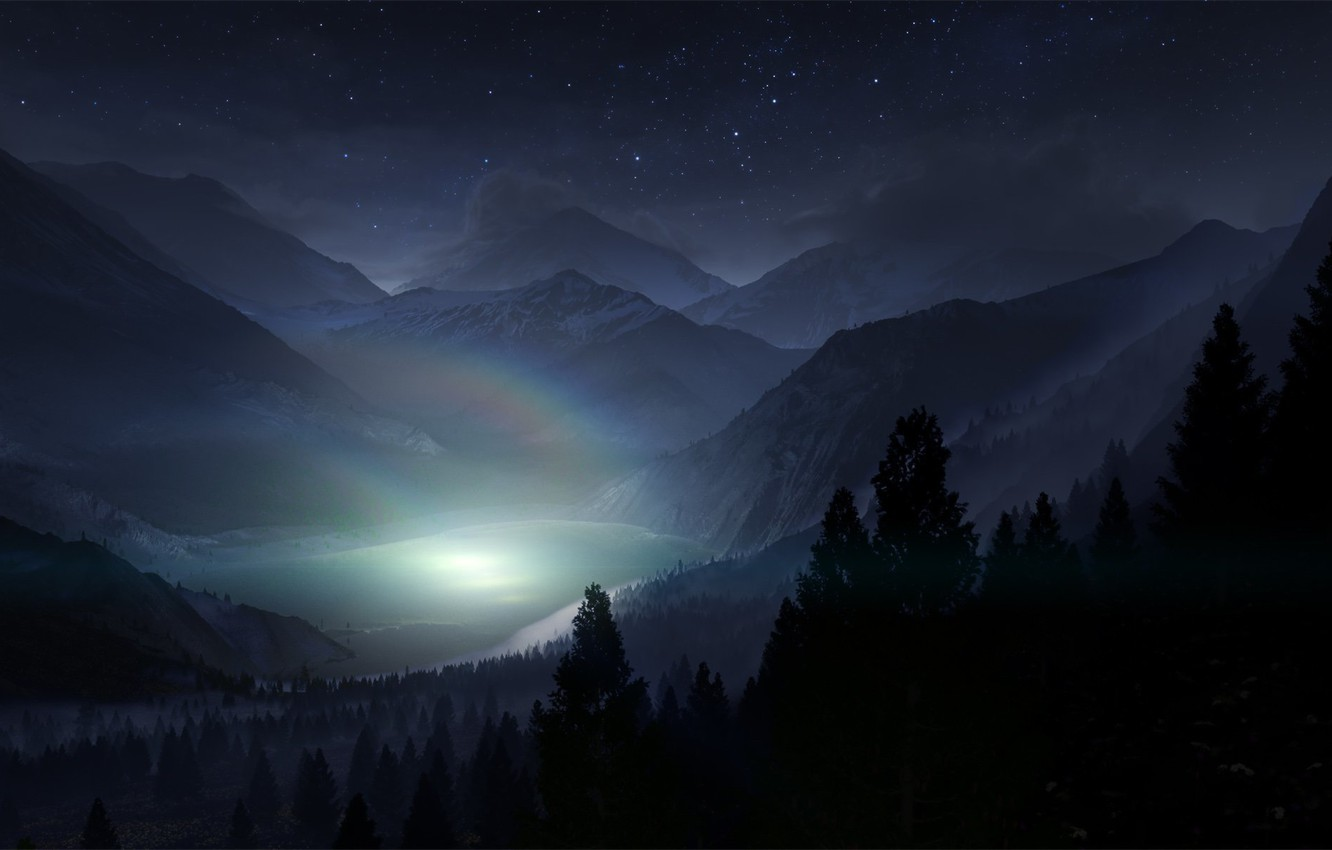 Photo wallpaper forest, the sky, stars, light, trees, landscape, mountains, night, nature, fog, lake, shadow, rainbow, silhouette