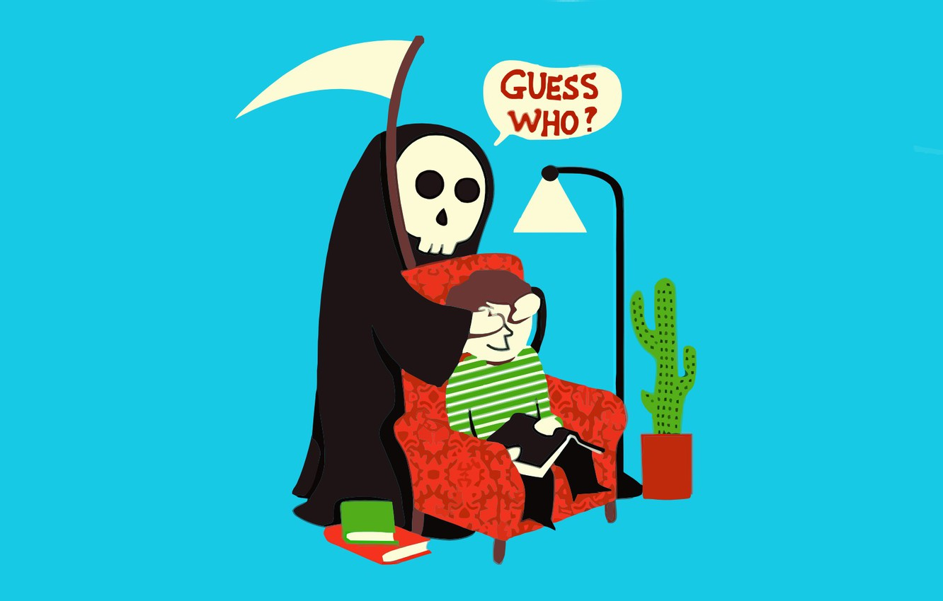 Photo wallpaper death, humor, guess who, surprise, the grim Reaper