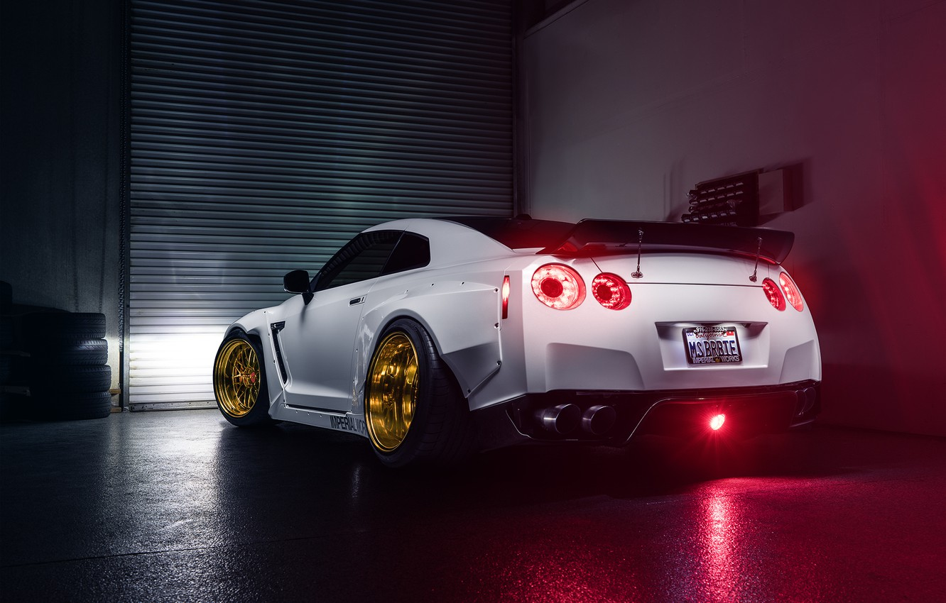 Photo wallpaper Imperial, Light, Nissan, GT-R, White, Sport, Garage, Rear, Works