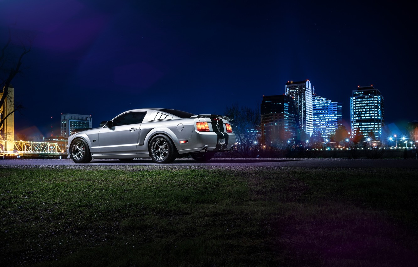 Photo wallpaper Mustang, Ford, Dark, Muscle, Car, Downtown, American, Rear, Nigth