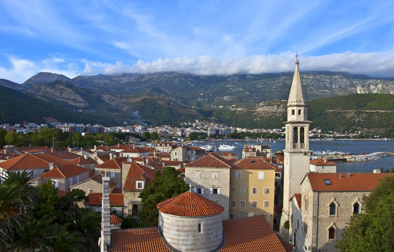 Photo wallpaper the sky, clouds, mountains, building, Montenegro, Budva, Budva