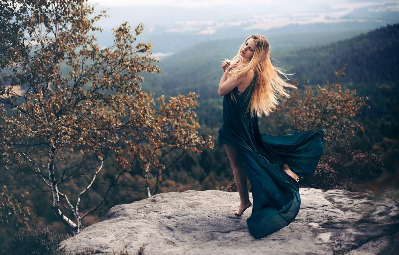 Photo wallpaper girl, stone, view, dress, Andrea Peipe