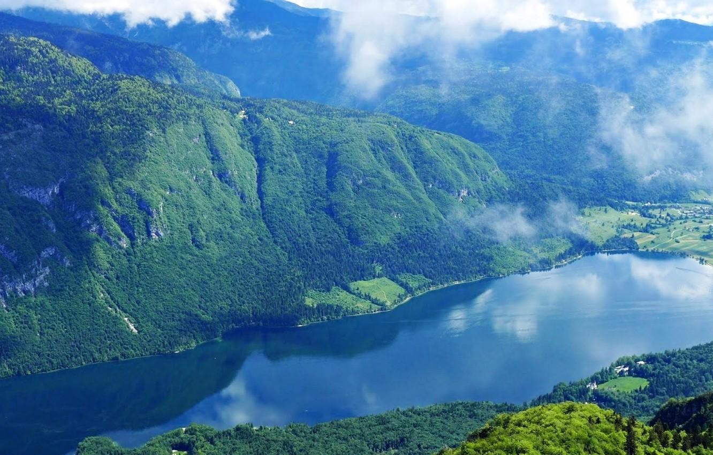 Photo wallpaper forest, the sky, clouds, mountains, nature, lake, photo, Slovenia, slovenia