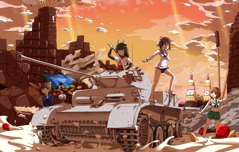 Photo wallpaper the sky, clouds, sunset, weapons, girls, chocolate, matches, katana, anime, strawberry, art, tank, sweets, Schoolgirls, …