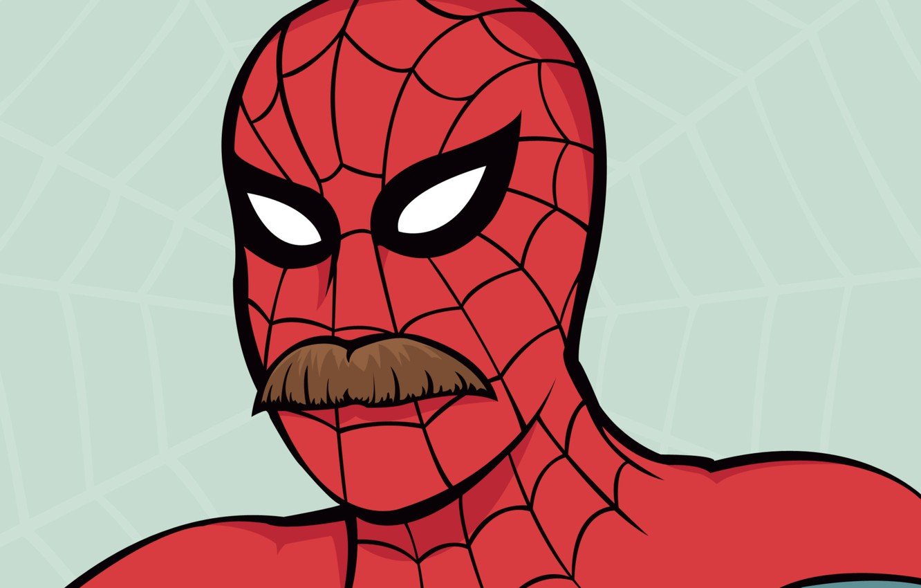 Photo wallpaper mustache, Web, Comic, Web, Spider-man, moustache, Peter Parker, Peter Parker, Spider-Man, Comic, Edition: Moustached heroes …