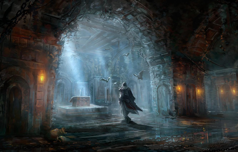 Photo wallpaper game, fiction, figure, male, Assassins Creed, bats, the room, games, art