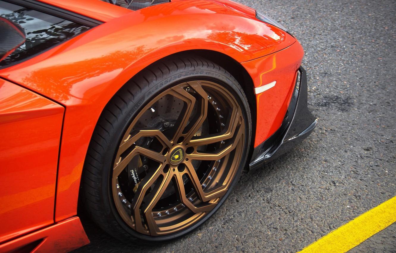 Photo wallpaper Lamborghini, wheel, orange, Aventador