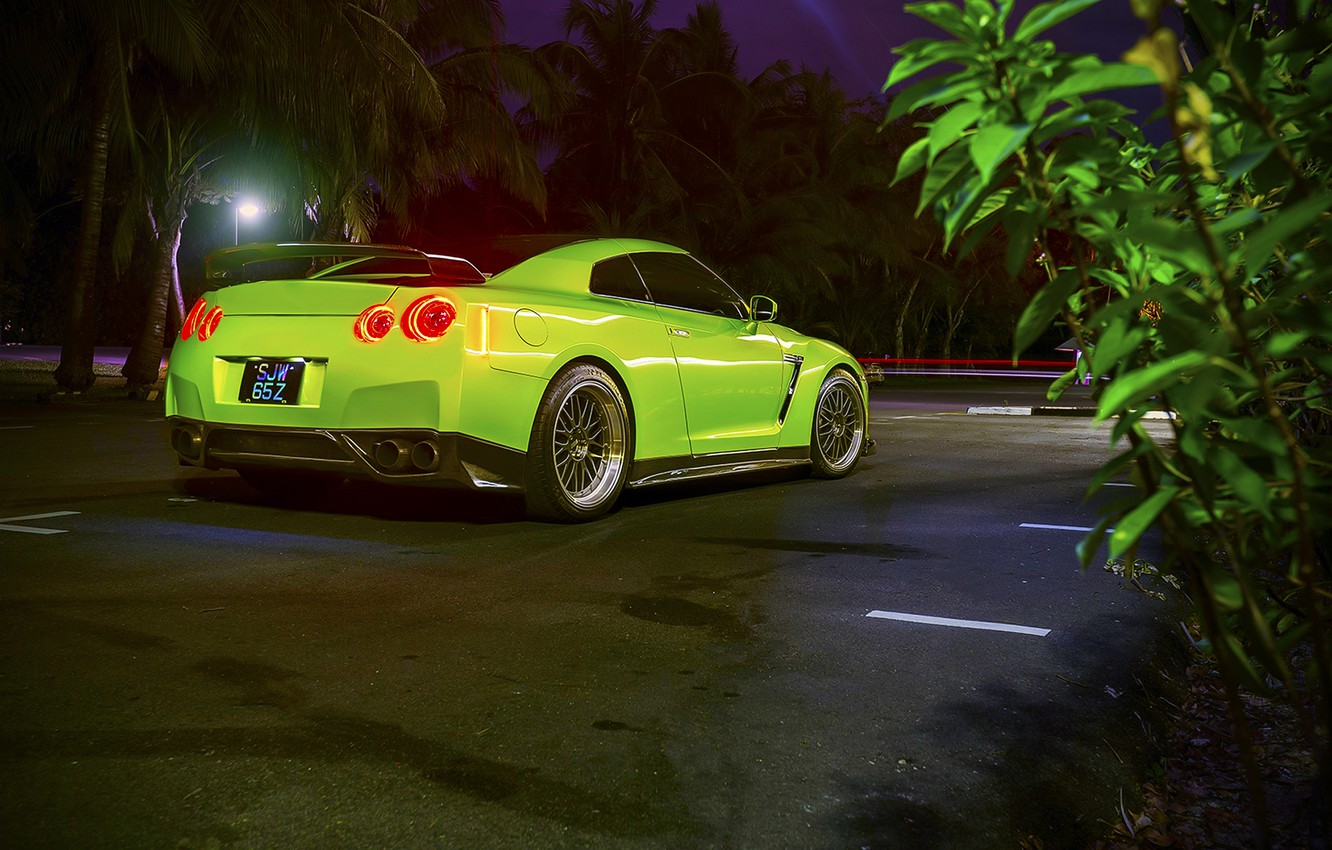 Photo wallpaper GTR, Nissan, Car, Green, Back, R35, Sport, 1400HP, Tomei