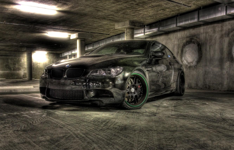 Photo wallpaper black, bmw, BMW, Parking, drives, black, e92