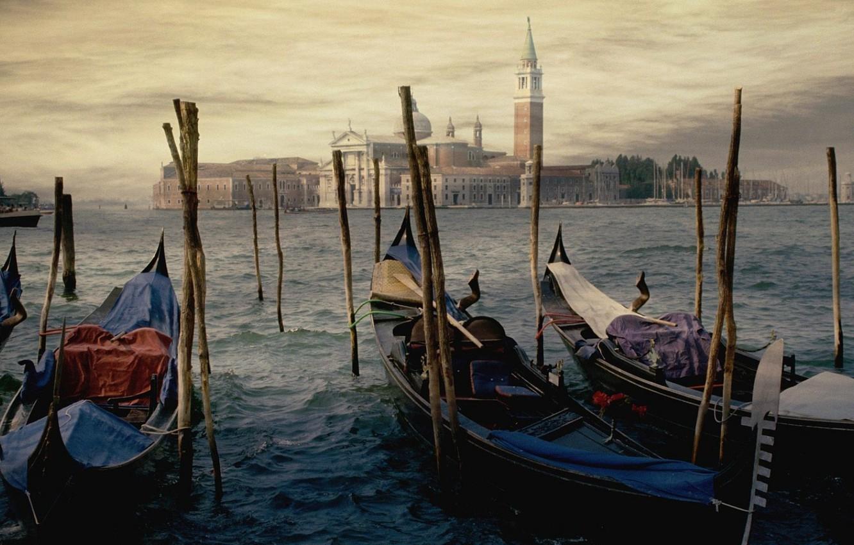 Photo wallpaper water, the city, shore, figure, building, picture, pier, Venice, facilities, art, gandoli