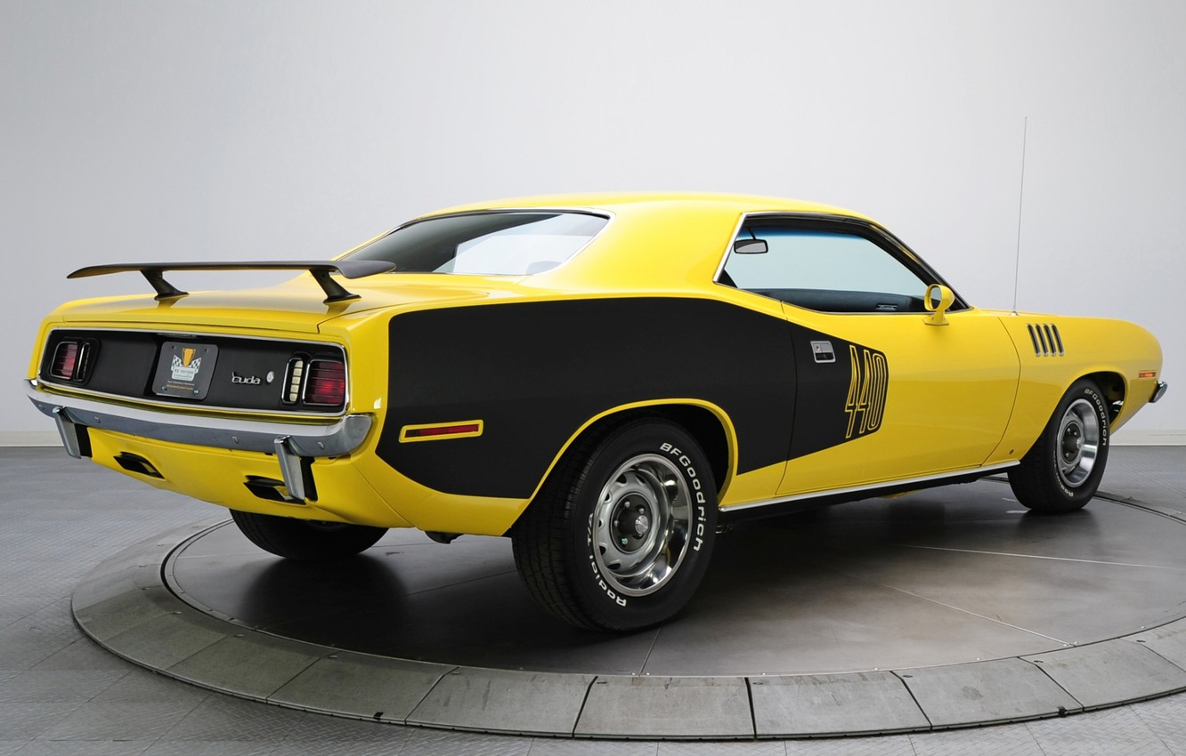 Photo wallpaper yellow, background, 1971, rear view, Plymouth, Muscle car, Cuda, Muscle car, Plymouth, Where, Barracuda, 440