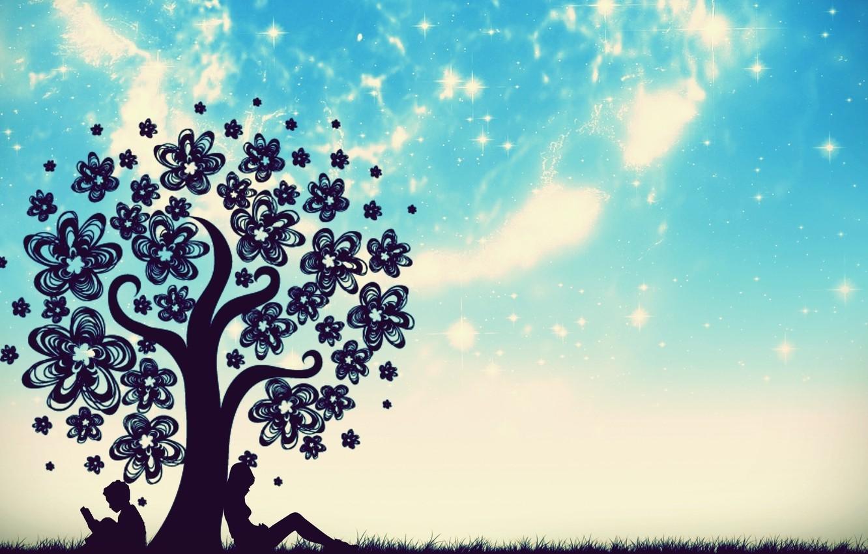 Photo wallpaper the sky, grass, stars, tree, boy, girl, book, flowers, sitting