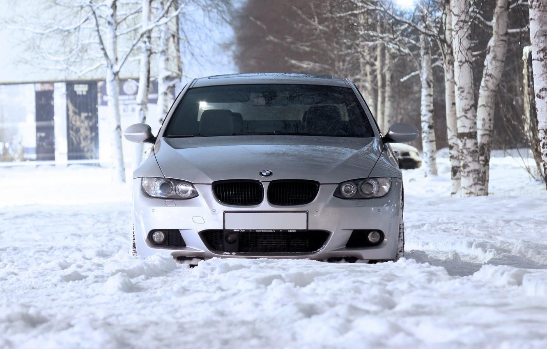 Photo wallpaper Winter, Grey, BMW M3