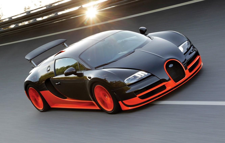 Photo wallpaper the sun, track, Bugatti Veyron, Bugatti, Super Sport, Super Sport, 16.4