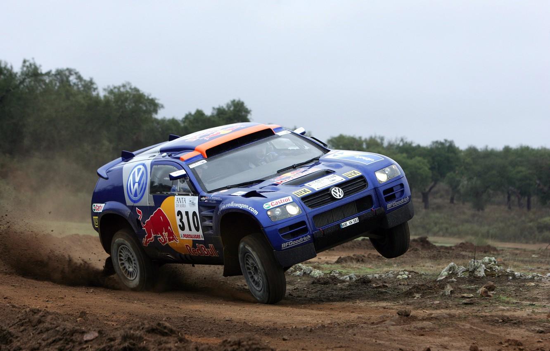 Photo wallpaper Blue, Sport, Volkswagen, Race, Touareg, Rally, Dakar