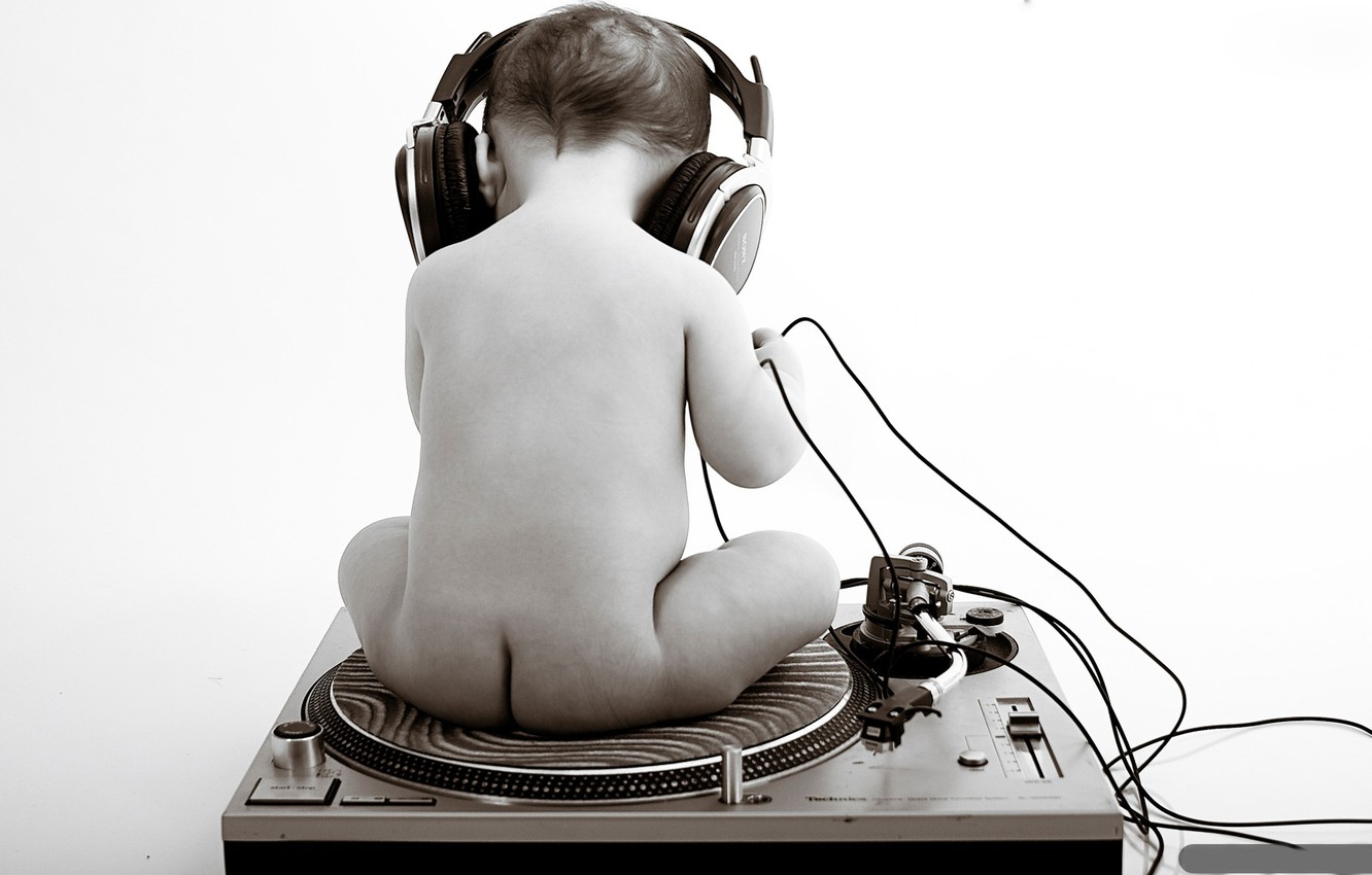 Photo wallpaper headphones, black and white, child