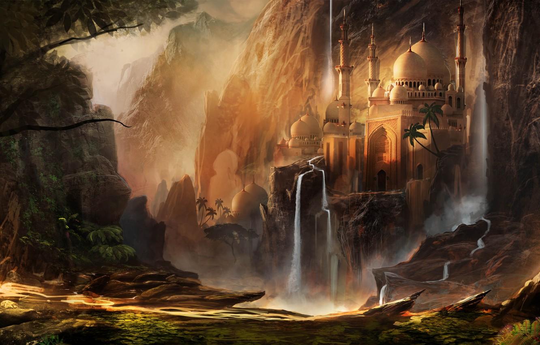Photo wallpaper mountains, the city, building, fantasy, art, waterfalls, the dome, Waqas Mallick