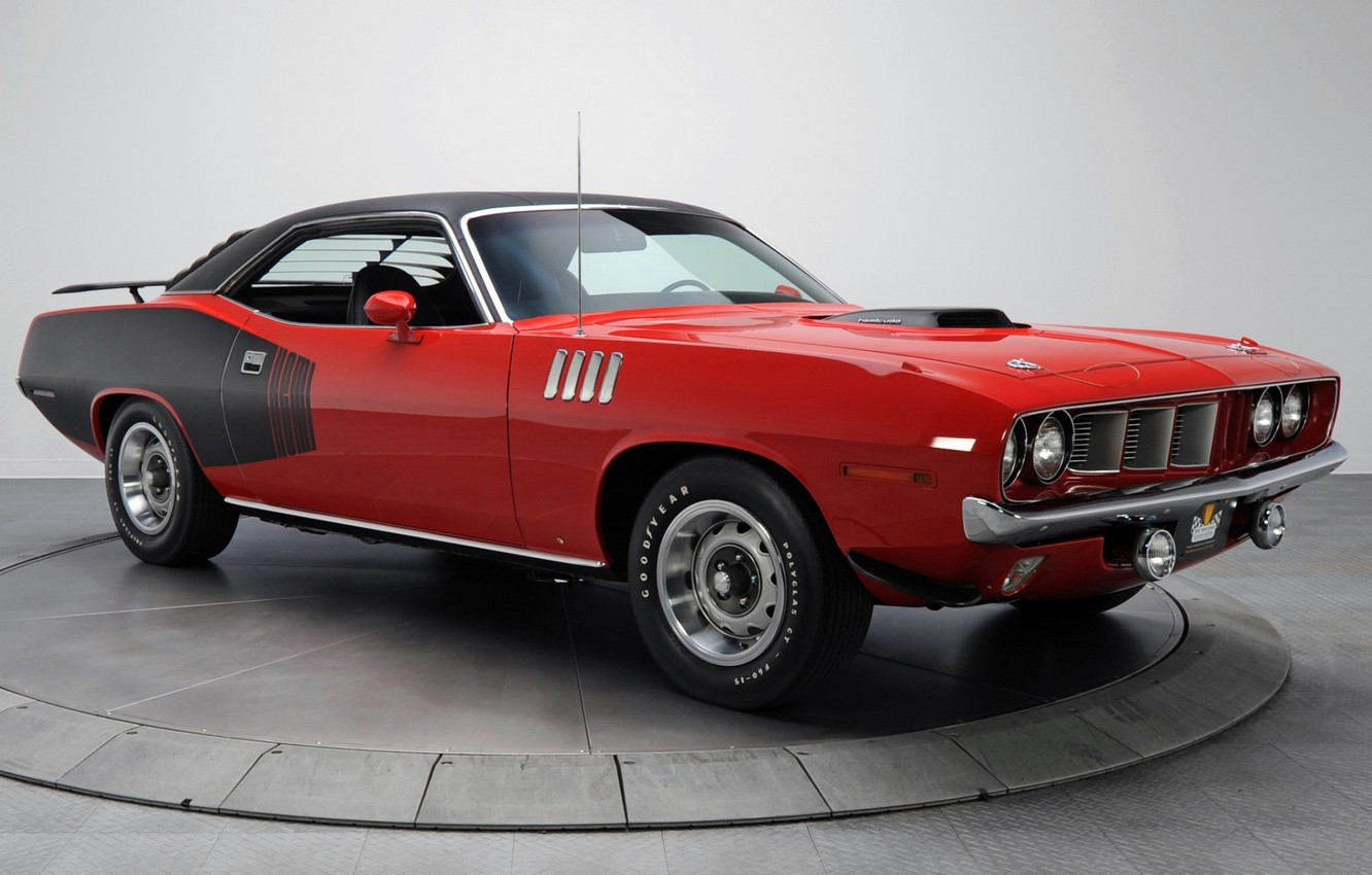 Photo wallpaper red, background, coupe, 1971, Plymouth, the front, Muscle car, Cuda, Muscle car, Hemi, Plymouth, Where, …